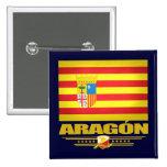 Flagge von Aragonien Quadratischer Button 5,1 Cm
