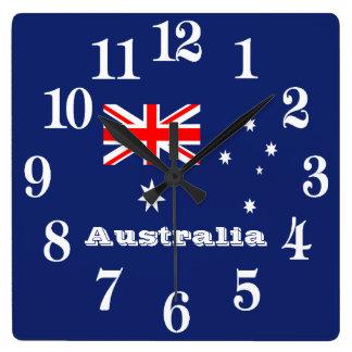 Flagge von Australien Quadratische Wanduhr