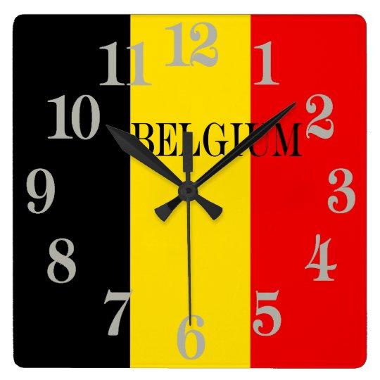 Flagge von Belgien Quadratische Wanduhr