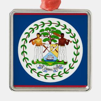 Flagge von Belize Quadratisches Silberfarbenes Ornament