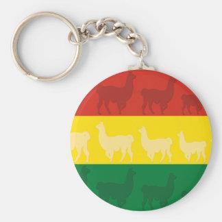 Flagge von Bolivien mit Lamas Schlüsselanhänger