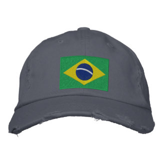 Flagge von Brasilien im Grün, im Gelb und im Blau Bestickte Baseballkappe