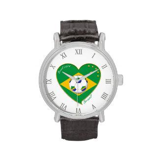 Flagge von BRASILIEN weltweiter FUSSBALL und Natio Armbanduhr