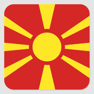 Flagge von der Republik Mazedonien Quadratischer Aufkleber