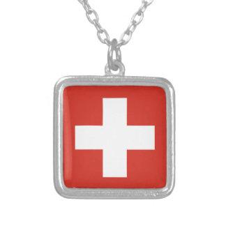 Flagge von der Schweiz - die Nationalflagge der Halskette Mit Quadratischem Anhänger