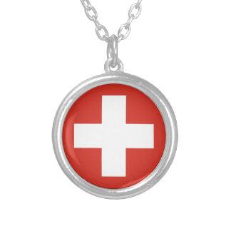 Flagge von der Schweiz - die Nationalflagge der Halskette Mit Rundem Anhänger