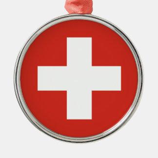 Flagge von der Schweiz - die Nationalflagge der Rundes Silberfarbenes Ornament