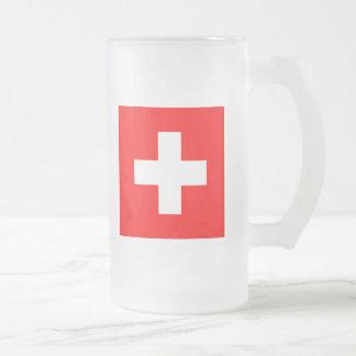 Flagge von der Schweiz Mattglas Bierglas
