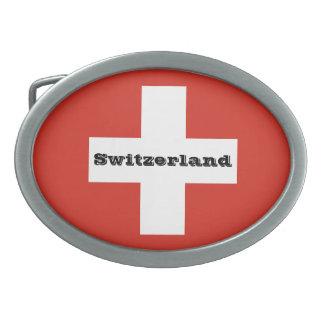 Flagge von der Schweiz Ovale Gürtelschnalle