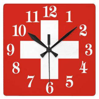 Flagge von der Schweiz Quadratische Wanduhr