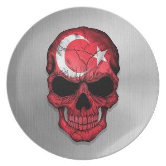 Flagge von der Türkei auf einer Stahlschädel-Grafi Flacher Teller
