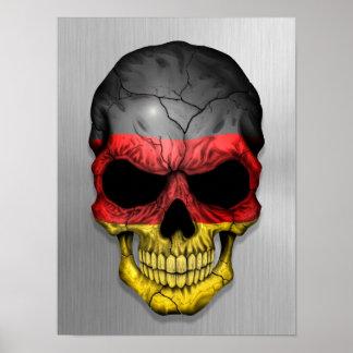 Flagge von Deutschland auf einer Stahlschädel-Graf Plakat