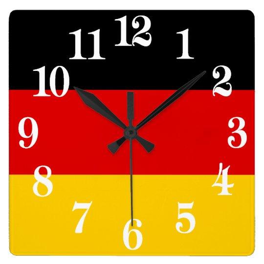 Flagge von Deutschland oder von Deutschland Quadratische Wanduhr
