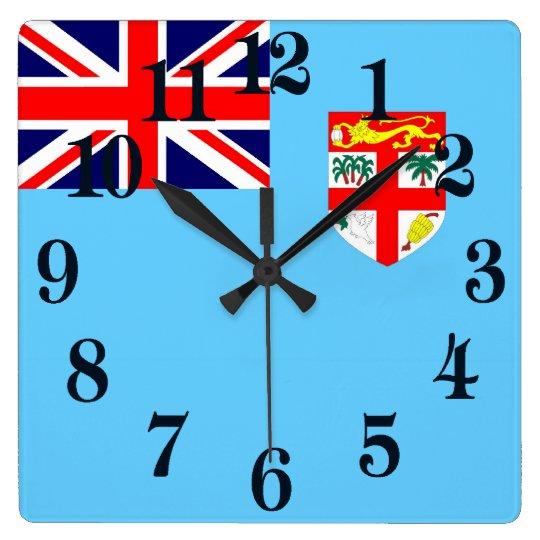 Flagge von Fidschi-Insel Quadratische Wanduhr