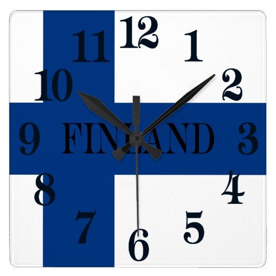 Flagge von Finnland blaues QuerSuomi Quadratische Wanduhr