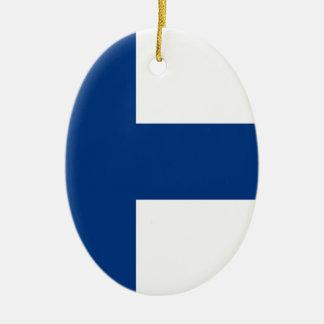 Flagge von Finnland - Suomen lippu - finnische Keramik Ornament