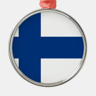 Flagge von Finnland - Suomen lippu - finnische Silbernes Ornament