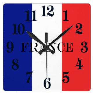 Flagge von Frankreich-Franzosen Tricolore Quadratische Wanduhr