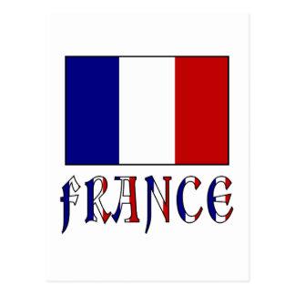 Flagge von Frankreich mit farbigem Namen Postkarte