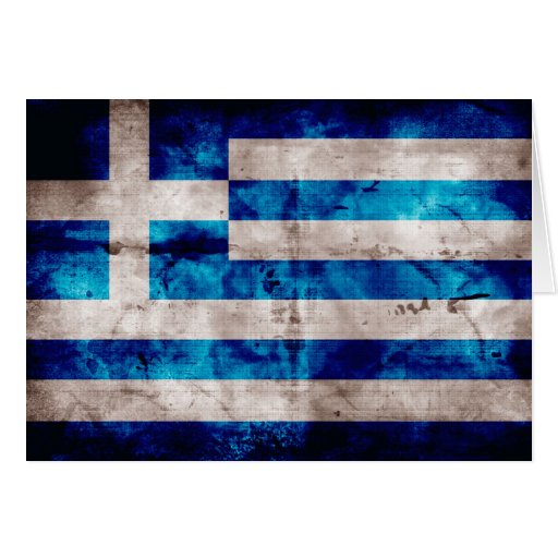Flagge von Griechenland; Griechisch Grußkarte