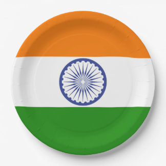 Flagge von Indien Ashoka Chakra Pappteller