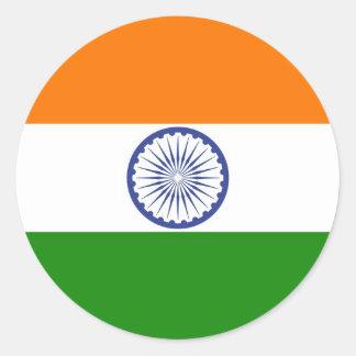 Flagge von Indien Ashoka Chakra Runder Aufkleber