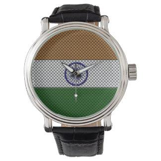 Flagge von Indien mit Kohlenstoff-Faser-Effekt Uhr