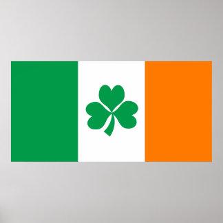 Flagge von Irland-Kleeblatt Poster