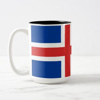 Flagge von Island Zweifarbige Tasse
