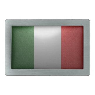 Flagge von Italien mit metallischem Effekt Rechteckige Gürtelschnalle