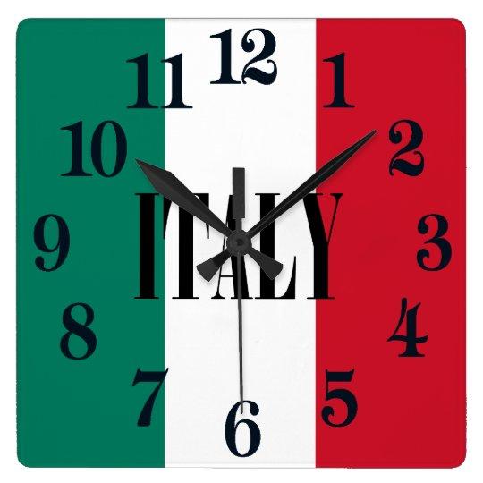 Flagge von Italiener Italiens Italien Quadratische Wanduhr