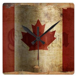 Flagge von Kanada/von Schmutz… Quadratische Wanduhr