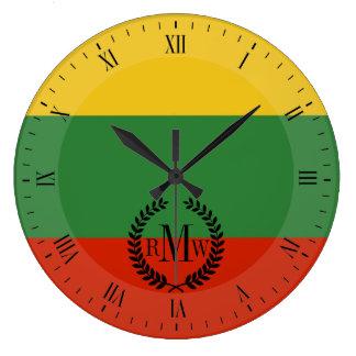 Flagge von Litauen Große Wanduhr