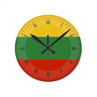 Flagge von Litauen Runde Wanduhr
