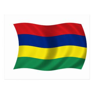 Flagge von Mauritius Postkarte