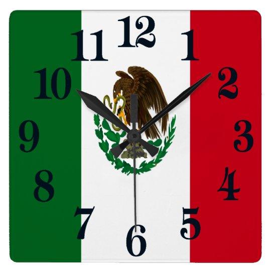 Flagge von Mexiko Quadratische Wanduhr