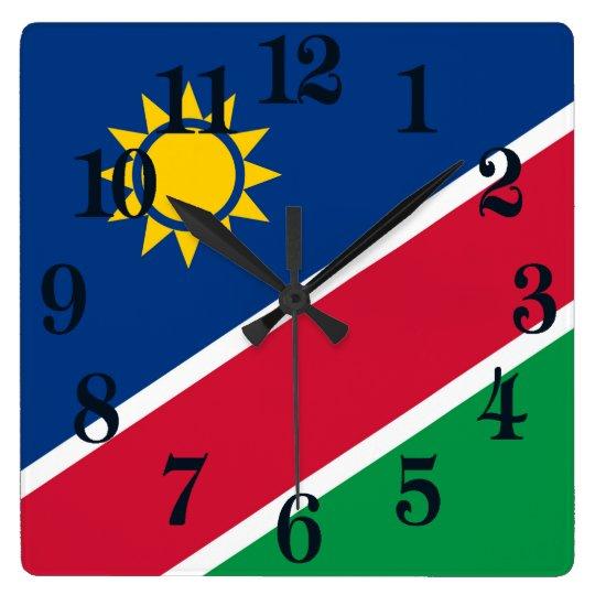 Flagge von Namibia Quadratische Wanduhr