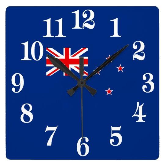 Flagge von Neuseeland Quadratische Wanduhr