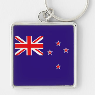 Flagge von Neuseeland Silberfarbener Quadratischer Schlüsselanhänger