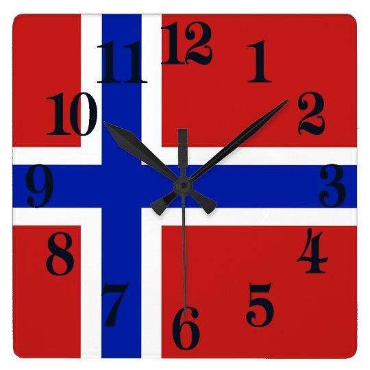 Flagge von Norwegen-Skandinavier Quadratische Wanduhr