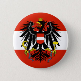 Flagge von Österreich mit Wappen Runder Button 5,1 Cm