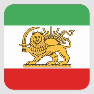 Flagge von Persien/von Iran (1964-1980) Quadratischer Aufkleber
