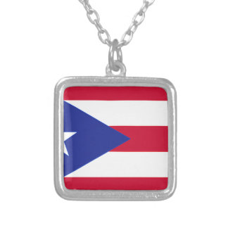 Flagge von Puerto- Rico - Banderade Puerto Rico Versilberte Kette
