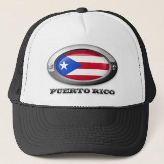 Flagge von Puerto Rico im Stahlrahmen Truckerkappe