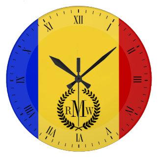 Flagge von Rumänien Große Wanduhr