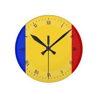 Flagge von Rumänien Runde Wanduhr