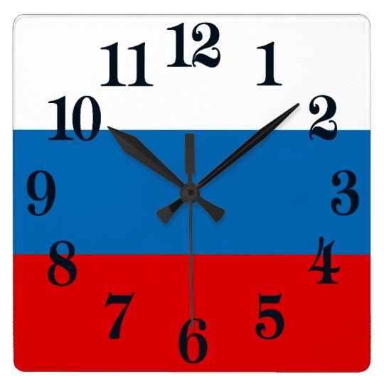 Flagge von Russland Quadratische Wanduhr