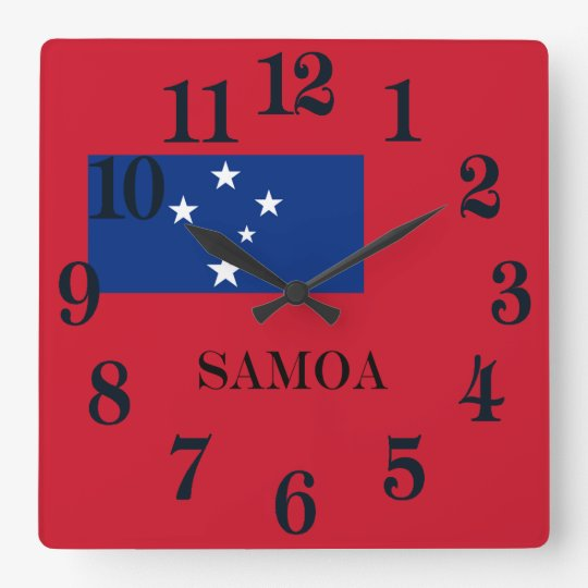 Flagge von Samoa-Inseln Insel Quadratische Wanduhr