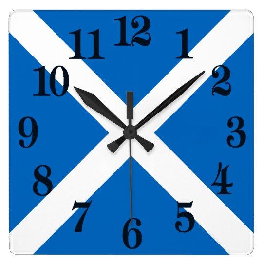 Flagge von Schottland oder von Saltire Quadratische Wanduhr