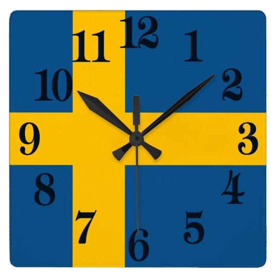 Flagge von Schweden Quadratische Wanduhr